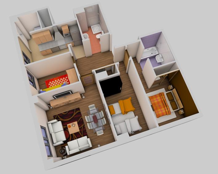 "vista de la vivienda tipo ""D"""